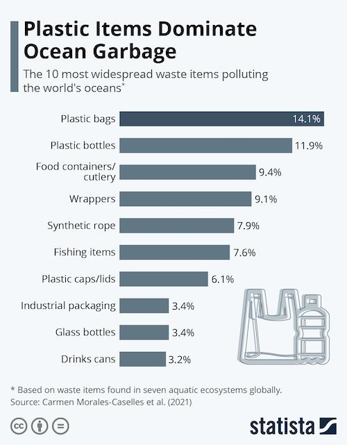 Plastic Items Dominate Ocean Garbage